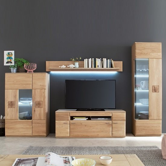 Wales Living Room Set 2 In Bianco Oak With LED Lighting