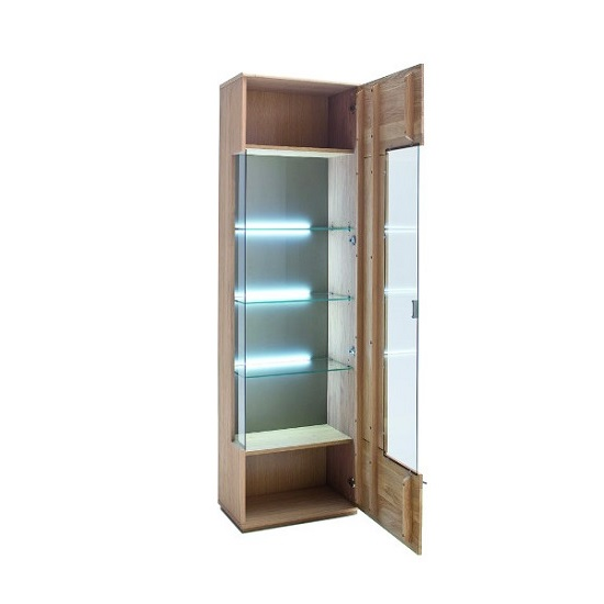 Wales Right Display Cabinet In Bianco Oak With 1 Door And LED_2