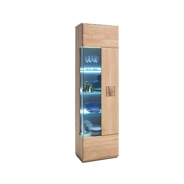 Wales Right Display Cabinet In Bianco Oak With 1 Door And LED