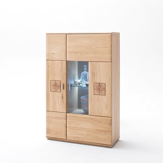 View Wales right highboard in bianco oak with 2 doors and led