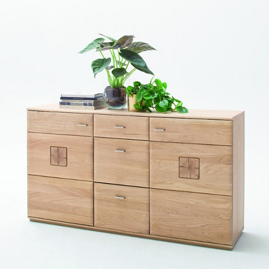 Wales Wooden Sideboard In Bianco Oak With 2 Doors And 3 Drawers