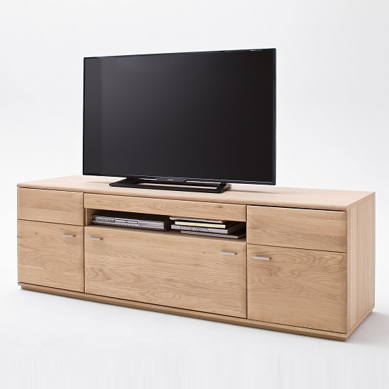 Wales Wooden TV Stand Large In Bianco Oak With 2 Doors