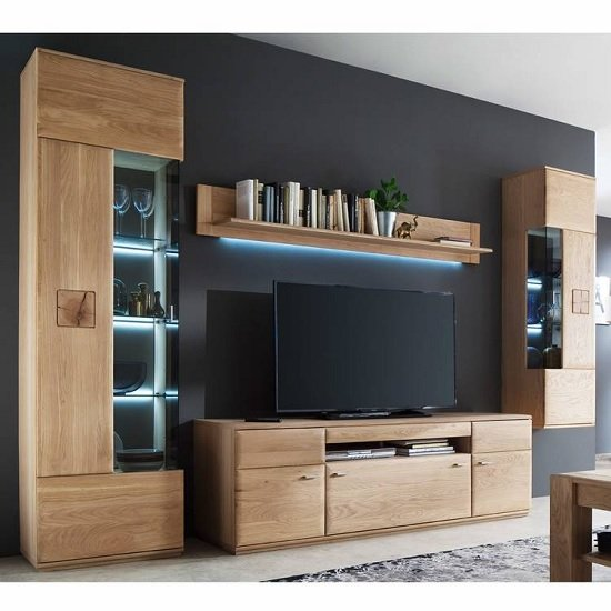 Product photograph showing Wales Living Room Set 3 In Bianco Oak With Led Lighting
