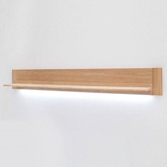Wales Wall Mounted Display Shelf In Bianco Oak With LED