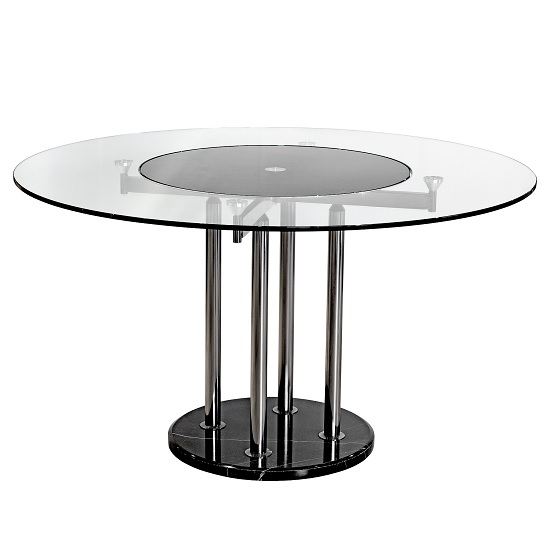 Wales Glass Dining Table In Clear And Black With Spinning Centre