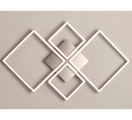 View Wall art 4 square led wall flush fitting light in satin silver