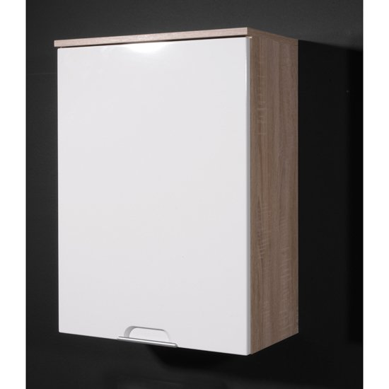 Santos Bathroom Cabinet in High Gloss White Oak