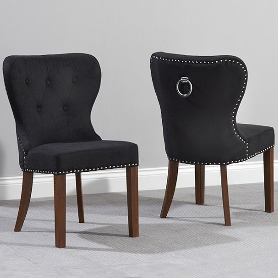 Wallace Dining Chair In Black Fabric And Dark Oak Legs In A Pair