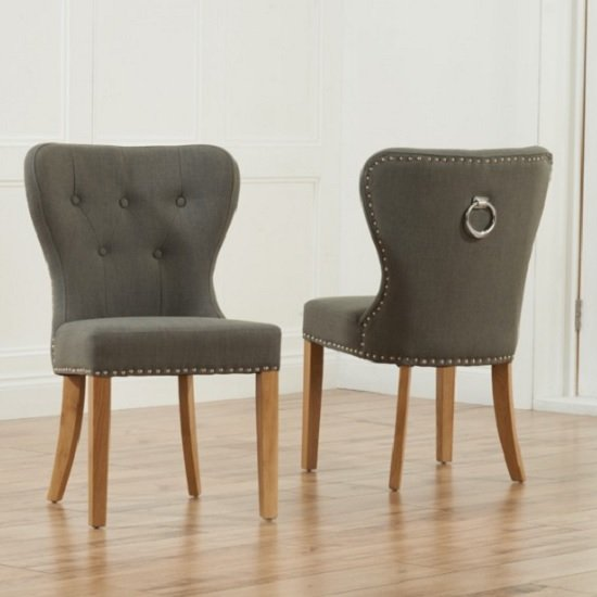 Wallace Dining Chair In Grey Fabric With Oak Legs In A Pair