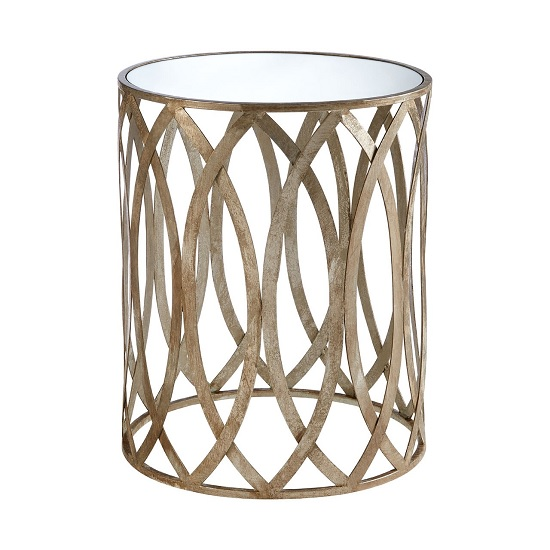 Wally Leaf Design Mirrored Side Table Round In Silver