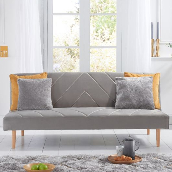 Waltom Velvet Upholstered Sofa Bed In Grey