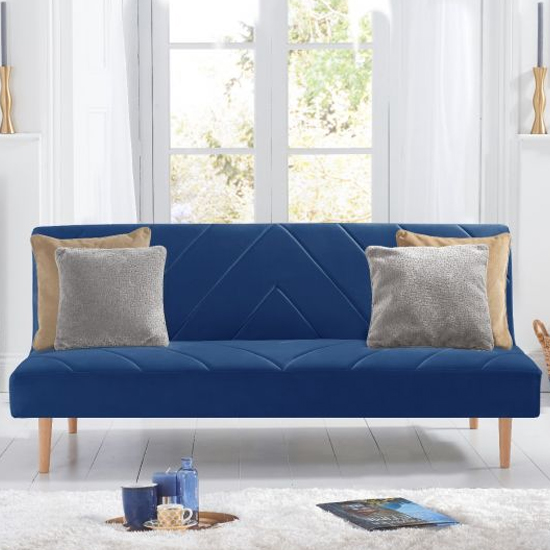Waltom Velvet Upholstered Sofa Bed In Blue