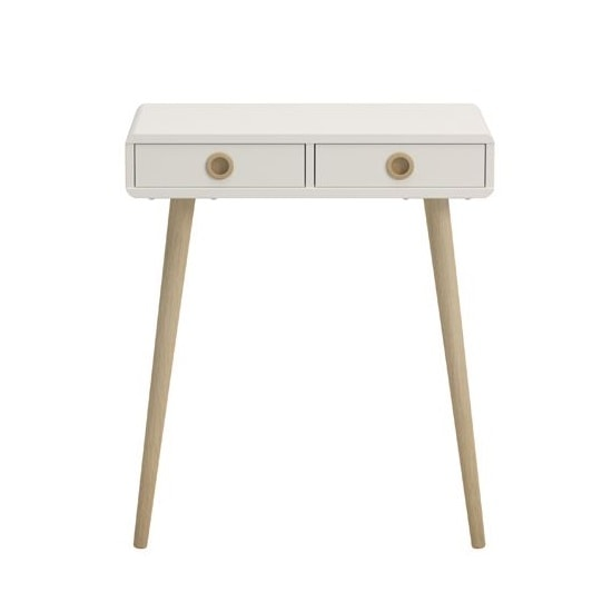 Walton Console Table In White With Oak Legs And 2 Drawers