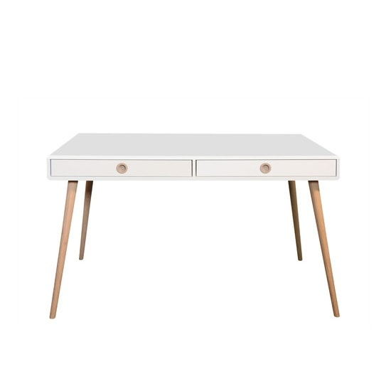 Walton Wooden Wide Desk In White And Oak Legs With 2 Drawers_2