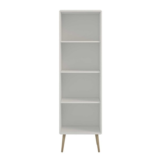 Walton Wooden Narrow Bookcase In White And Oak Legs_1