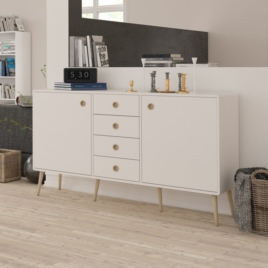 Walton Wooden Sideboard In White And Oak Legs With 2 Doors_1