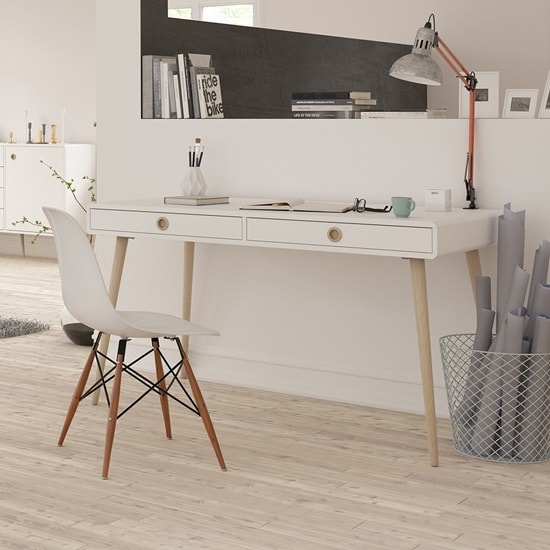 Walton Wooden Wide Desk In White And Oak Legs With 2