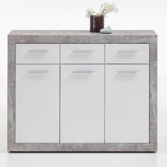 Waples Sideboard In Concrete And White With 3 Doors