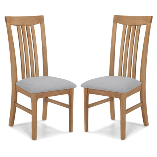 Wardle Grey Fabric Dining Chairs In A Pair With Wooden Frame