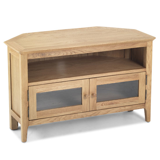 View Wardle wooden corner tv unit in crafted solid oak with 2 doors