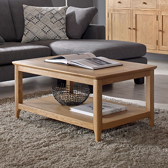 Wardle Wooden Large Coffee Table In Crafted Solid Oak