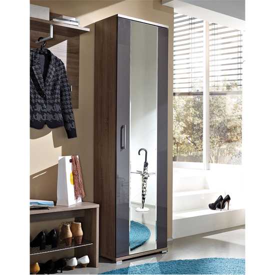 Prima Dark Oak/Gloss Graphite Wardrobe, 3156-165