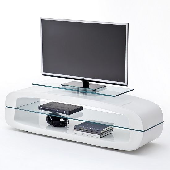 Warmingham Modern Glass TV Stand In High Gloss White