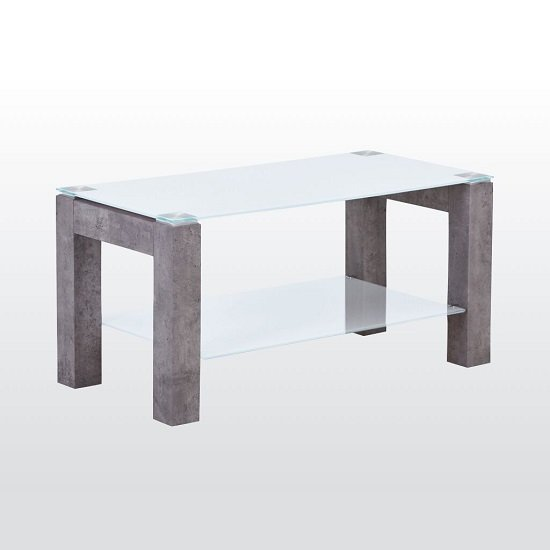 Warren Glass Coffee Table In White With Concrete Effect Base
