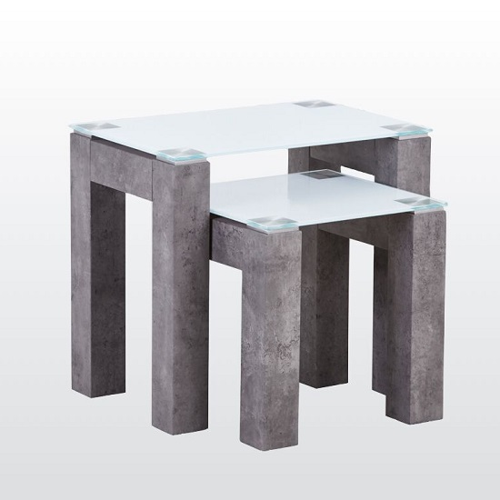Warren Glass Nest Of 3 Tables In White With Concrete Effect Base