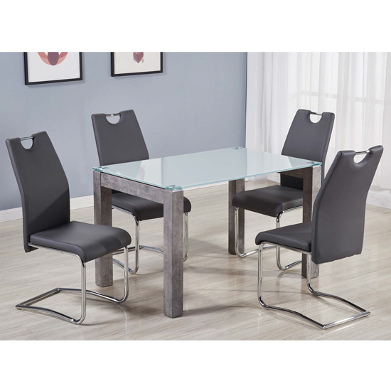Warren Glass Top Dining Set With 4 Capella Grey Chairs_1