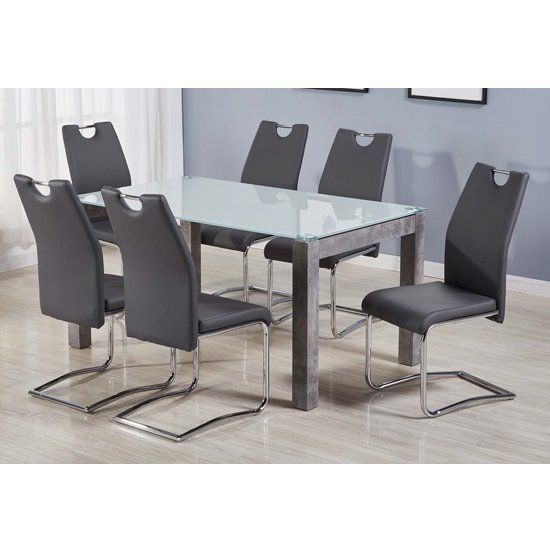 Warren Glass Top Dining Set With 6 Capella Grey Chairs_1