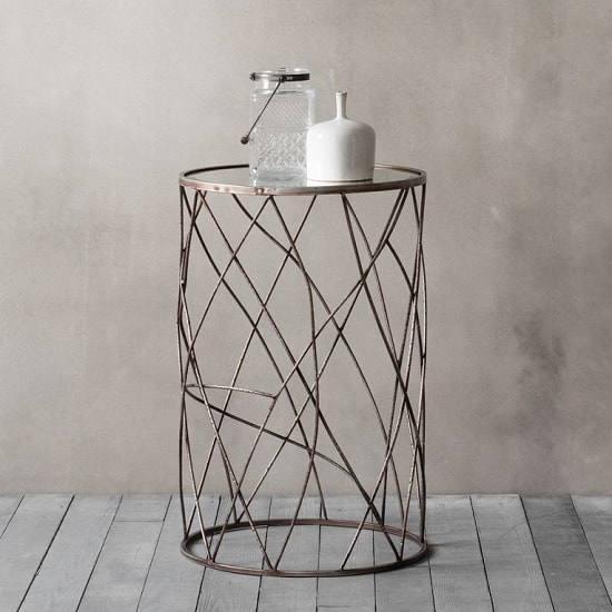 Warren Round Glass Side Table With Metal Frame_1