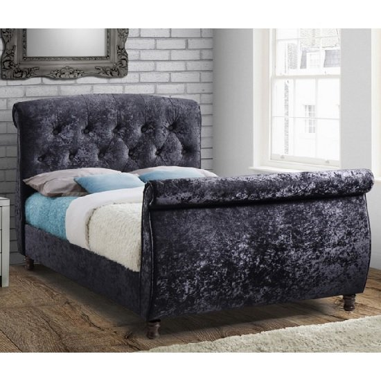 Warrington Modern Fabric Bed In Black With Wooden Feet