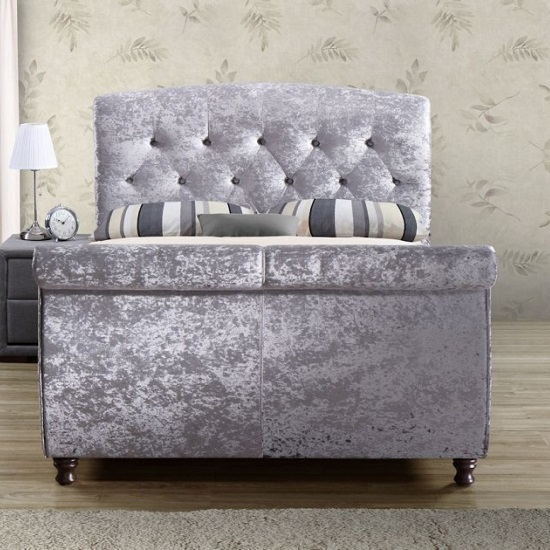 Warrington Modern Fabric Bed In Grey With Wooden Feet_2