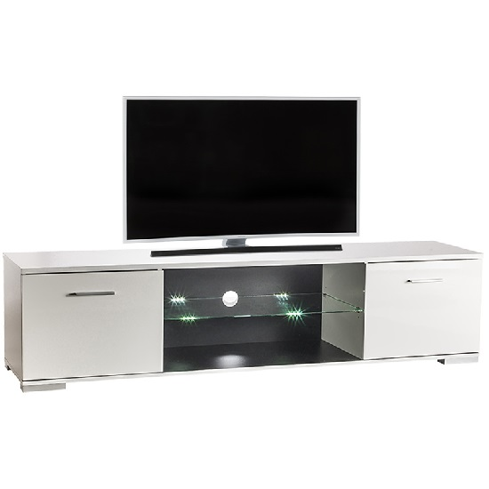 Warso TV Stand In White With High Gloss Fronts With LED