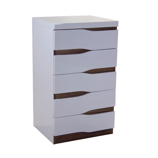 Ardwick Narrow 5 Drawers Chest In White High Gloss And Walnut