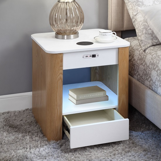 Wasdale Smart Bedside Table In Ash And White With Light_2