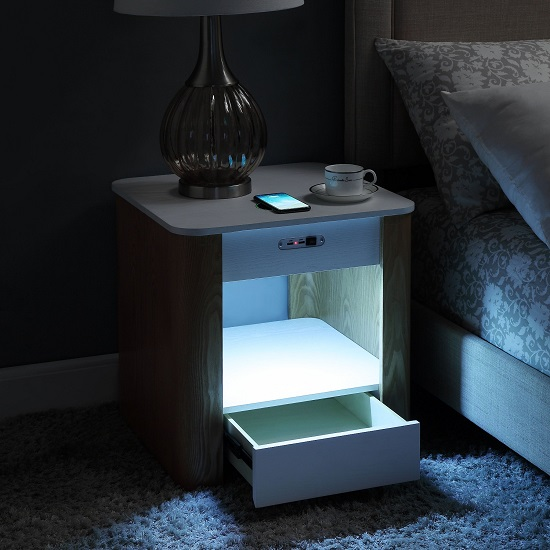 Wasdale Smart Bedside Table In Ash And White With Light_3