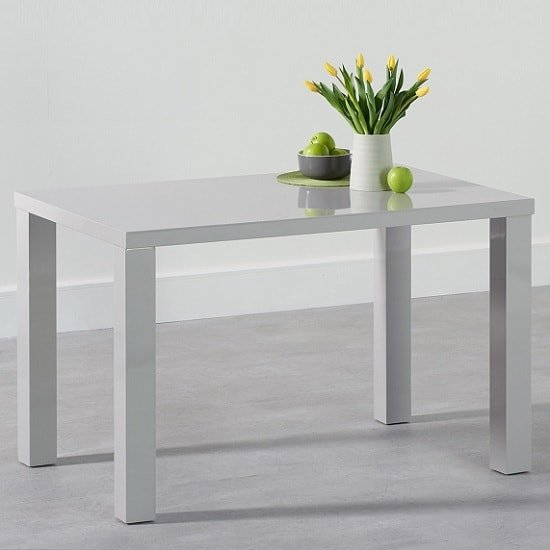 Washington 120cm Dining Table In Light Grey High Gloss