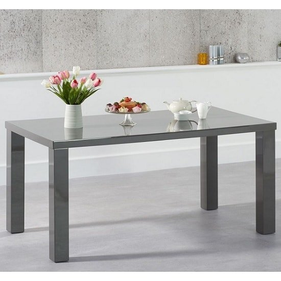 Washington 160cm Dining Table In Dark Grey High Gloss