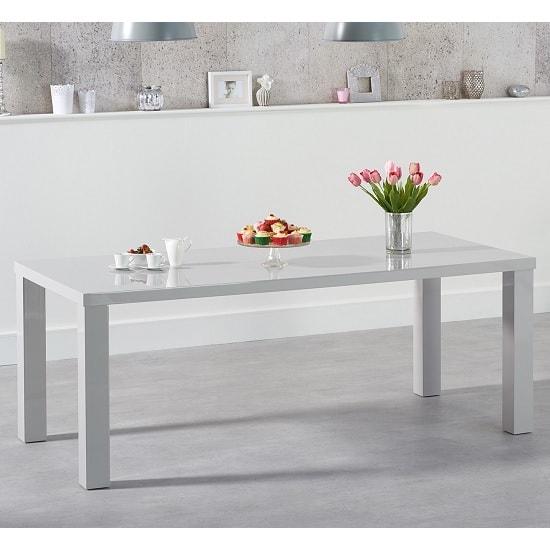 Washington 180cm Dining Table In Light Grey High Gloss