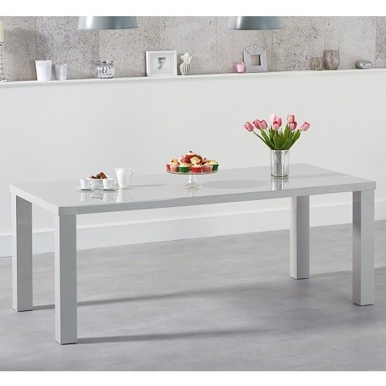 Washington 200cm Dining Table In Light Grey High Gloss