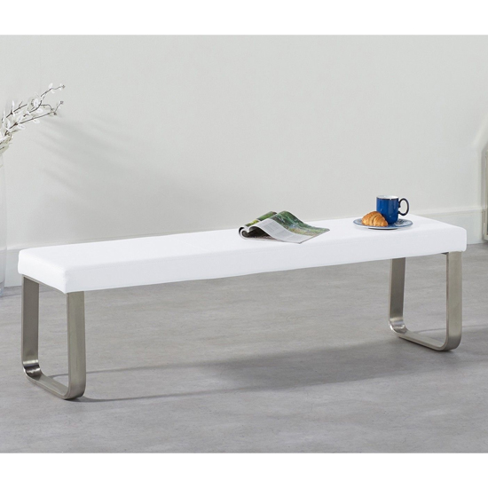 Washington Large Faux Leather Dining Bench In White