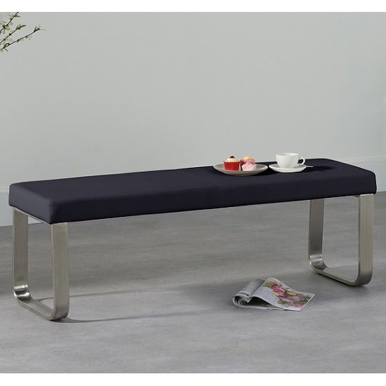 Washington Medium Dining Bench In Black Faux Leather_1