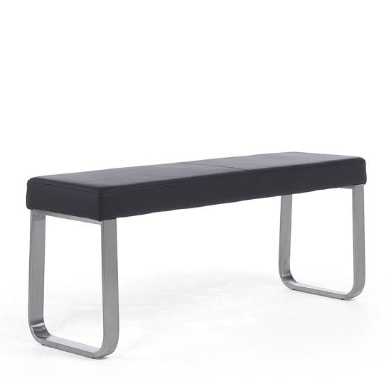 Washington Medium Dining Bench In Black Faux Leather_4