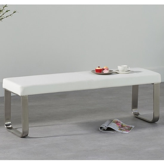 Washington Medium Dining Bench In White Faux Leather_1