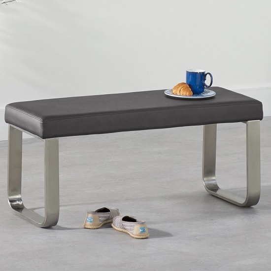 Washington Small Faux Leather Dining Bench In Grey
