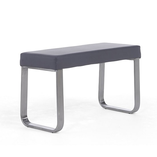 Washington Small Dining Bench In Grey Faux Leather_4