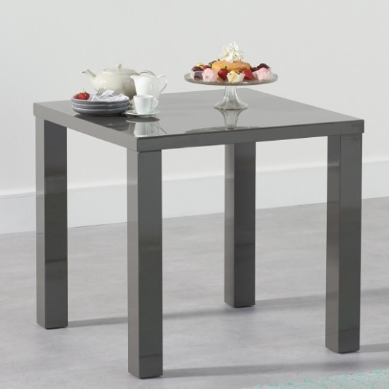Washington Dining Table Square In Dark Grey High Gloss