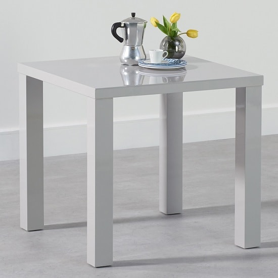 Washington Dining Table Square In Light Grey High Gloss